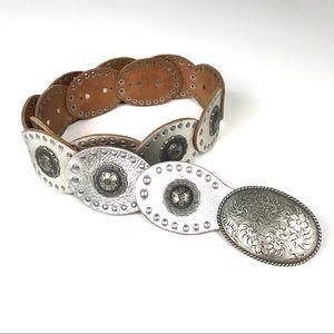 FOSSIL Metallic Silver Boho Western Leather Belt